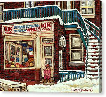 De Bullion Street Depanneur Kik Cola Montreal Streetscenes Canvas Print by Carole Spandau