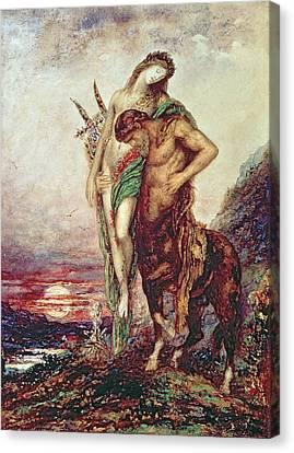 Dead Poet Borne By Centaur Canvas Print by Gustave Moreau