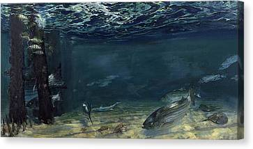 Deal Pilings, Rooting For Shredders Canvas Print by Stanley Meltzoff / Silverfish Press