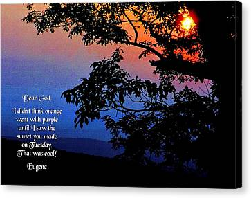 Dear God Canvas Print by Mike Flynn