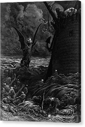 Death-fires Dancing Around The Becalmed Ship Canvas Print by Gustave Dore
