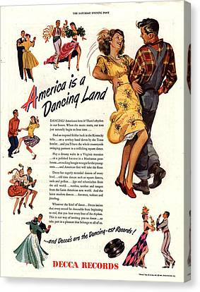 Decca Records 1940s Usa  Dancing Canvas Print by The Advertising Archives