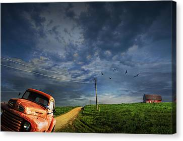 Decline Of The Small American Farm Canvas Print by Randall Nyhof