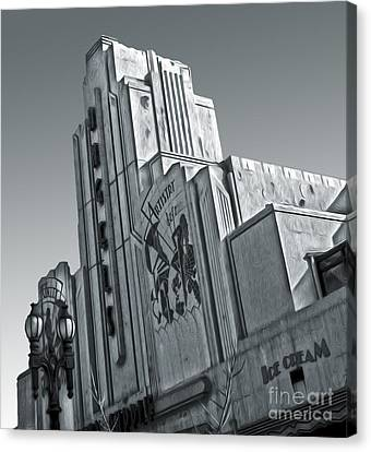 Deco Building In Black And White Canvas Print by Gregory Dyer