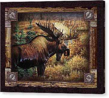 Deco Moose Canvas Print by JQ Licensing