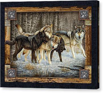 Deco Wolves Canvas Print by JQ Licensing