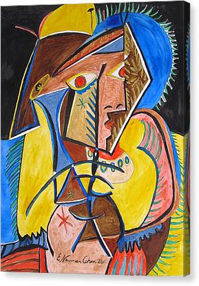 Deconstructing Picasso  - A Sexy Woman Canvas Print by Esther Newman-Cohen