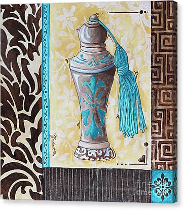 Decorative Bathroom Bath Art Original Perfume Bottle Painting Luxe Perfume By Madart Canvas Print by Megan Duncanson