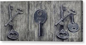 decorative vintage keys I Canvas Print by Priska Wettstein