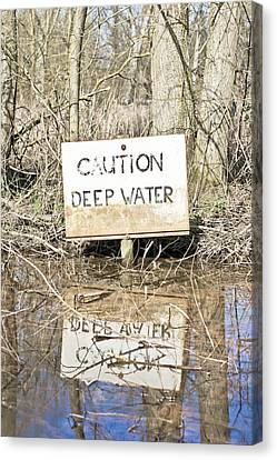 Deep Water Sign Canvas Print by Tom Gowanlock