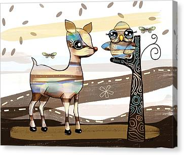 Deer And Owl Canvas Print by Karin Taylor