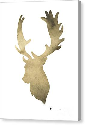Deer Antlers Original Watercolor Art Print Canvas Print by Joanna Szmerdt