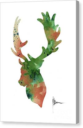 Deer Antlers Silhouette Watercolor Art Print Painting Canvas Print by Joanna Szmerdt