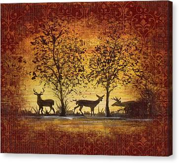 Deer At Sunset On Damask Canvas Print by Jean Plout