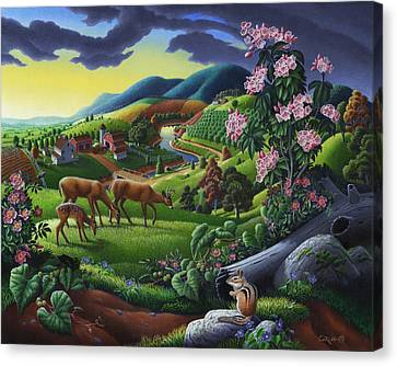 Deer Chipmunk Summer Appalachian Folk Art - Rural Country Farm Landscape - Americana  Canvas Print by Walt Curlee