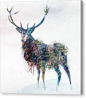 Deer In Watercolor Canvas Print by Marian Voicu