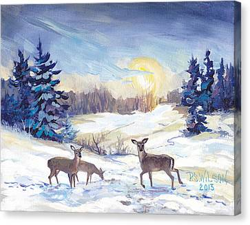 Deer In Winter Landscape  Canvas Print by Peggy Wilson