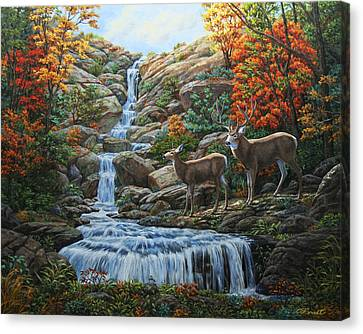 Deer Painting - Tranquil Deer Cove Canvas Print by Crista Forest
