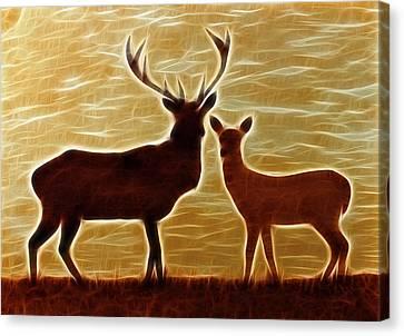 Deers Lookout Canvas Print by Georgeta Blanaru