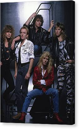 Def Leppard - Group Stairs 1987 Canvas Print by Epic Rights