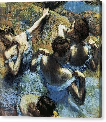 Degas, Edgar 1834-1917. Blue Dancers Canvas Print by Everett