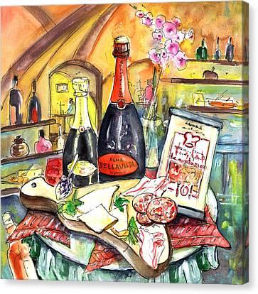 Degustation In Bergamo Canvas Print by Miki De Goodaboom