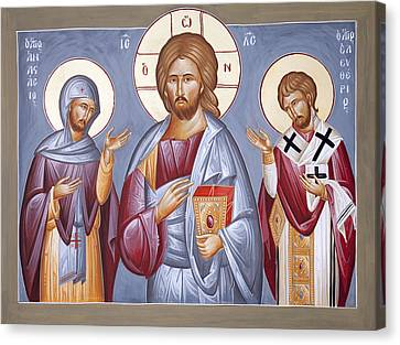 Deisis Jesus Christ St Anastasios And St Eleftherios Canvas Print by Julia Bridget Hayes