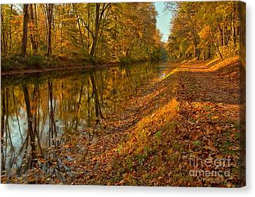 Delaware Canal Fall Foliage Canvas Print by Adam Jewell