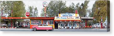 Delgadillo's Snow Cap Drive-in On Route 66 Panoramic Canvas Print by Mike McGlothlen