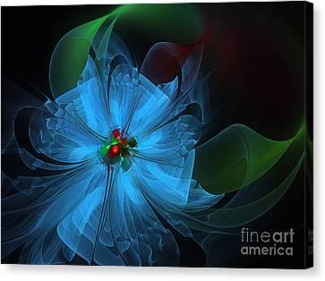 Delicate Blue Flower-fractal Art Canvas Print by Karin Kuhlmann