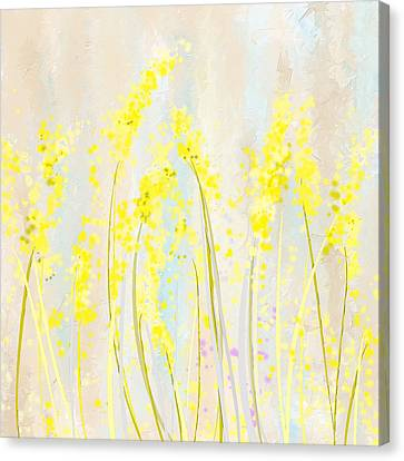 Delicately Soft- Yellow And Cream Art Canvas Print by Lourry Legarde