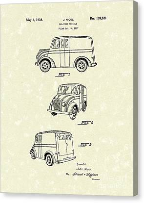 Delivery Vehicle 1938 Patent Art  Canvas Print by Prior Art Design
