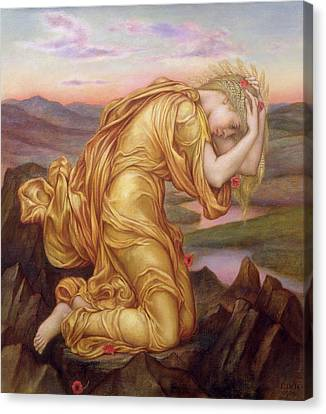 Demeter Mourning For Persephone Canvas Print by Evelyn De Morgan