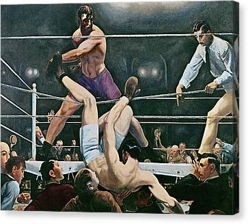 Dempsey V Firpo In New York City Canvas Print by George Wesley Bellows