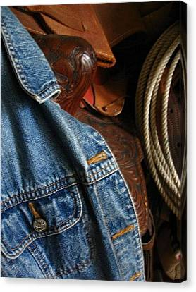 Denim And Leather Canvas Print by Deb Martin-Webster