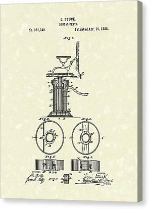 Dental Chair 1888 Patent Art Canvas Print by Prior Art Design