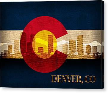 Denver Skyline Silhouette Of Colorado State Flag Canvas Canvas Print by Design Turnpike