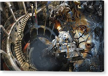 Derailment Or Train Of Thought Canvas Print by George Grie