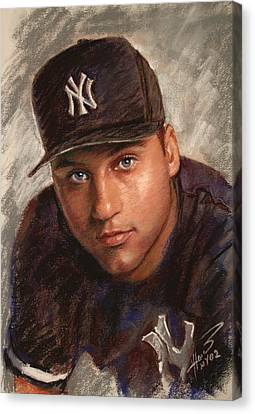 Derek Jeter Canvas Print by Viola El