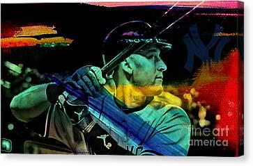 Derek Jeter Canvas Print by Marvin Blaine