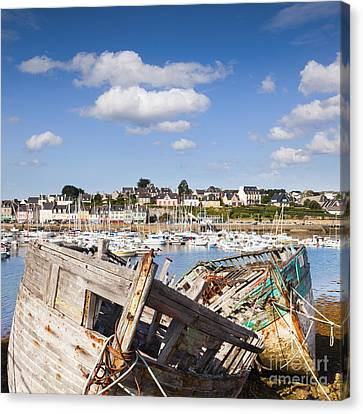 Derelict Fishing Boats Camaret Sur Mer Brittany Canvas Print by Colin and Linda McKie
