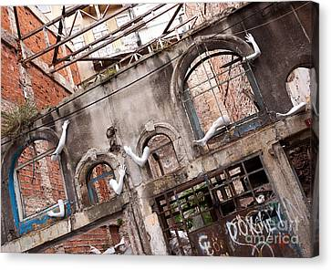 Derelict Wall Of Lost Limbs 01 Canvas Print by Rick Piper Photography