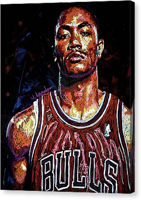 Derrick Rose-2 Canvas Print by Maria Arango