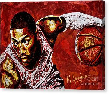 Derrick Rose Canvas Print by Maria Arango