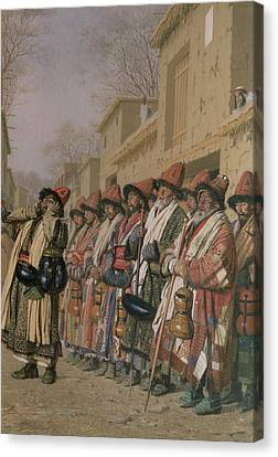 Dervishes Chorus Begging Alms In Tashkent, 1870 Oil On Canvas Canvas Print by Piotr Petrovitch Weretshchagin
