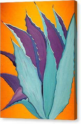 Modern Native American Art Canvas Print featuring the painting Desert Agave Cactus by Karyn Robinson