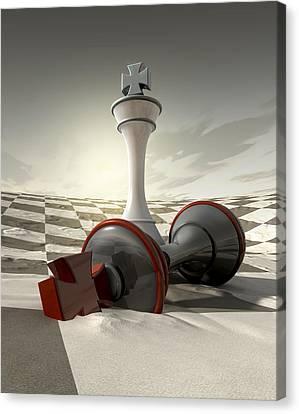 Desert Chess Defeat Canvas Print by Allan Swart