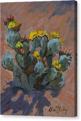 Desert Prickly Pear Cactus Canvas Print by Diane McClary