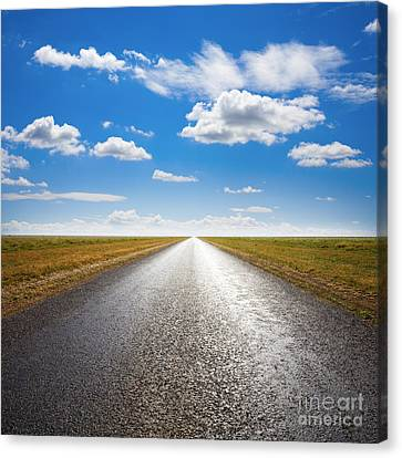 Desert Road And Dramatic Sky Canvas Print by Colin and Linda McKie