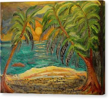 Deserted Tropical Sunset Canvas Print by Louise Burkhardt
